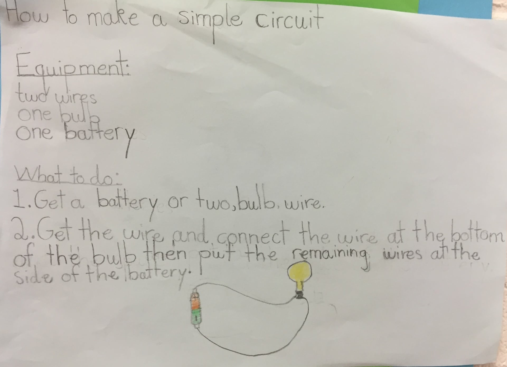 Seomra Setanta Are Learning About Electricity Scoil Ghrainne Cns We Can Construct A Simple Circuit With Battery And Bulb To Produce Wrote Instructions How Make Even Drew Diagram