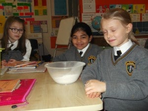 Flour in the mixing bowl