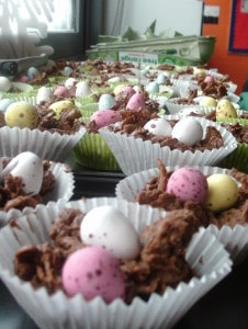 Chocolate Easter Nests by junior infants and 6th class