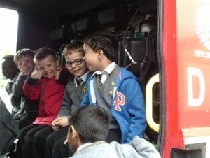 Boys in the fire truck