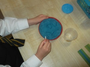 writing in playdough